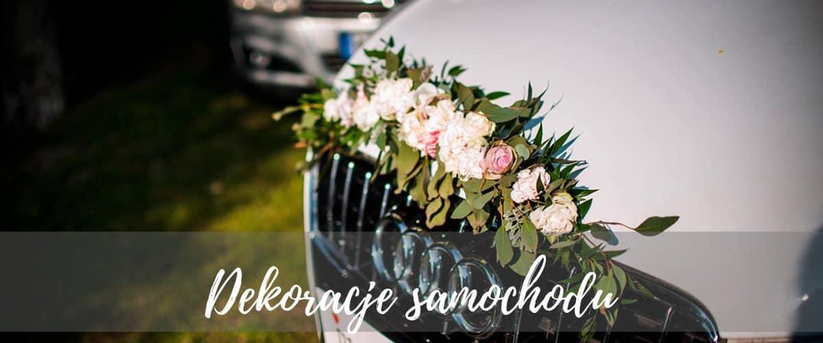 dekoracja samochodu do ślubu warszawa, ślubna dekoracja auta