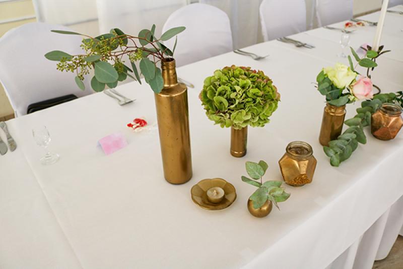 wazony złote dekoracja wesele boho warszawa