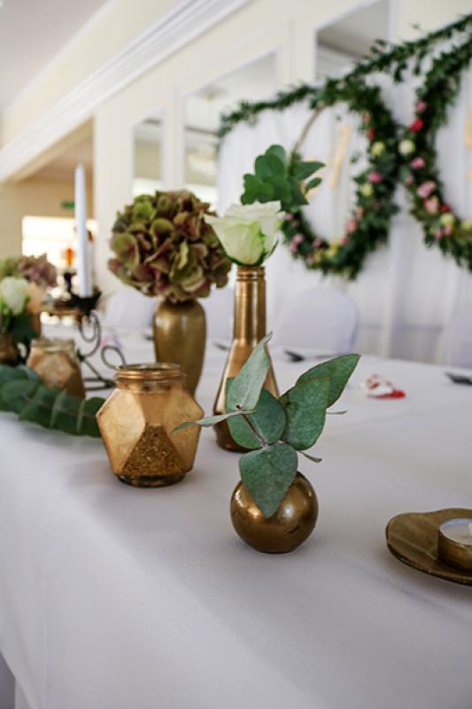złote wazony dekoracje ślubne warszawa
