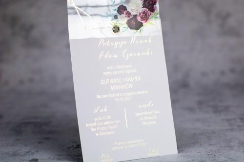 bordo kwiaty złoto zaproszenie ślubne