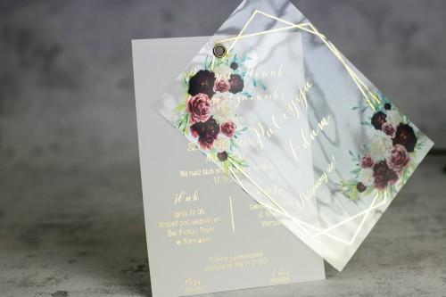 bordo złoto kwiaty zaproszenie ślubne