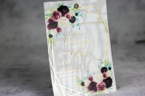 kwiaty bordo złoto zaproszenie ślubne