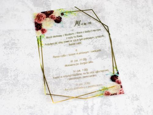 menu weselne bordo złoto