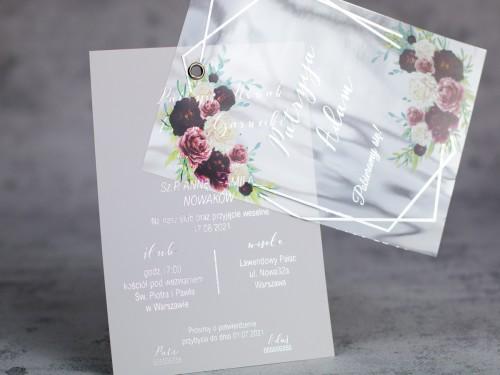 srebro bordo zaproszenie ślubne