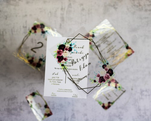 transparentne zaproszenie ślubne bordo złoto