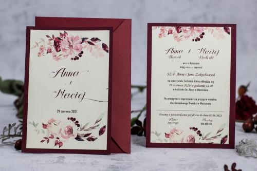 zaproszenie-na-slub-kwiaty-krem-bordo