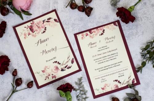zaproszenie-slubne-bordo-krem-kwiaty