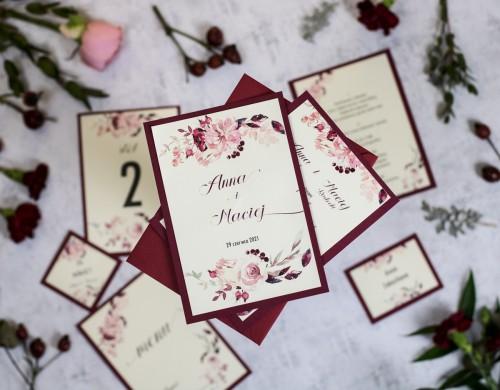 zaproszenie-slubne-krem-bordo-kwiaty