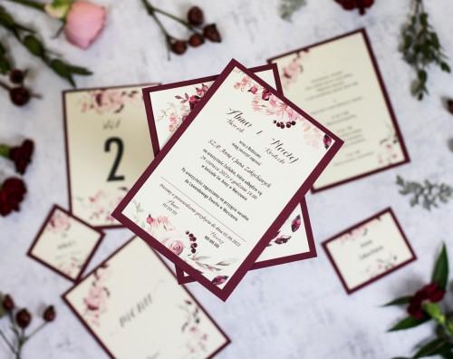 zaproszenie-slubne-kwiaty-bordo-krem