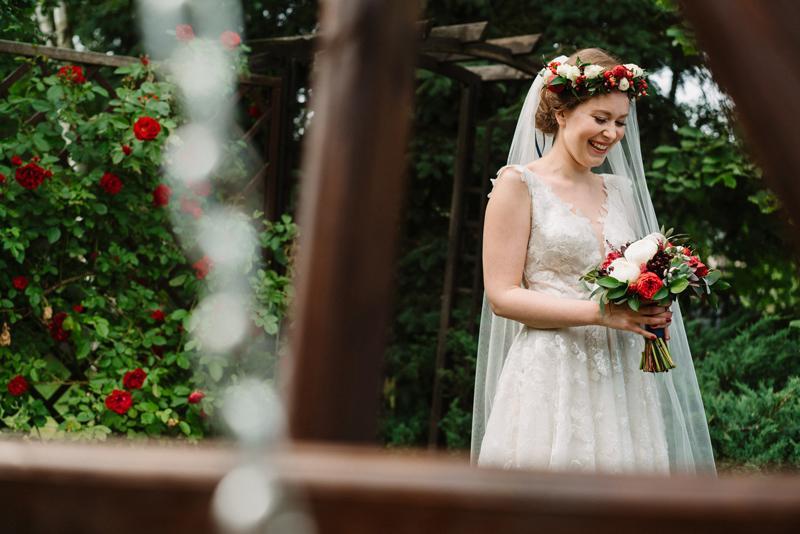 bukiet wianek masala dekoracje bordo ślub