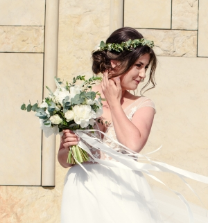 bukiet ślubny białe boho