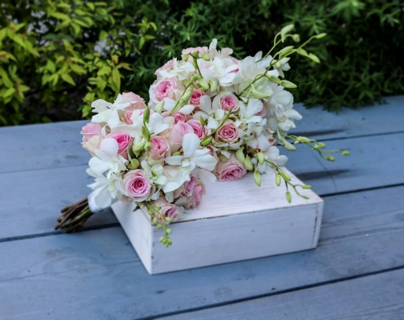 bukiet ślubny warszawa róża storczyk