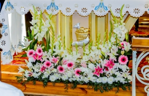 dekoracja kościoła na ślub warszawa gerbera różowa