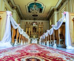 dekoracja ławek lila tiul warszawa