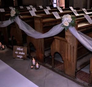 dekoracja ławek na ślub warszawa róże