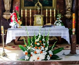gerbera dekoracja ołtarza