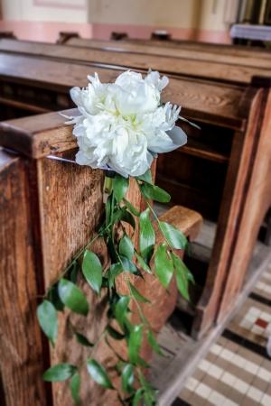 peonia dekoracja ławek ślub