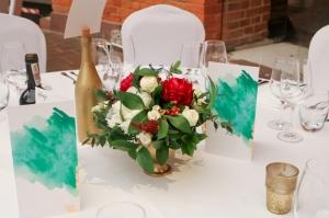 dekoracja stołu kwiaty bordo warszawa