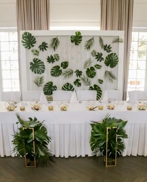 tropikalna ścianka dekoracje ślubne