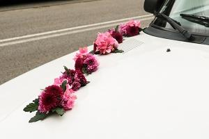 dekoracja ślubna samocahodu hortensja