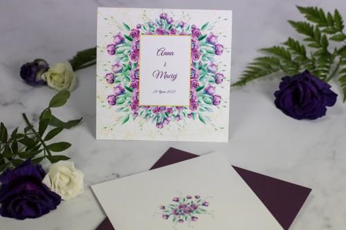 zaproszenie ślubne geometryczne fioletowe