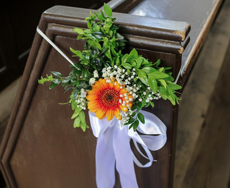dekoracja ławki warszawa gerbera zieleń