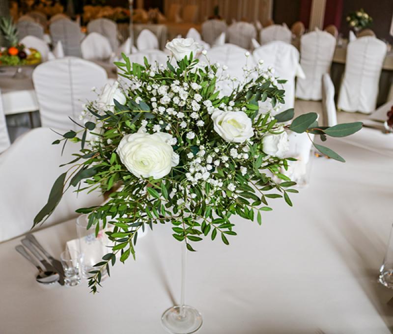 wystrój goście weselni greenery