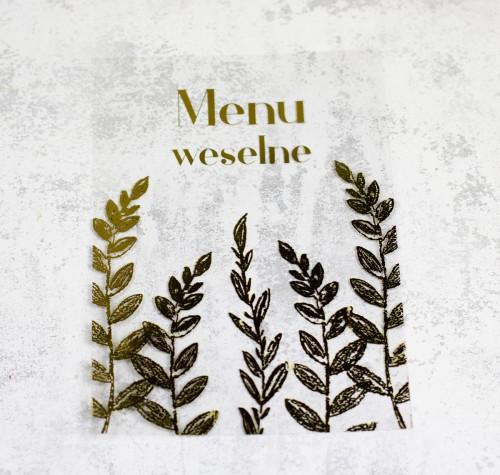 menu weselne transparentne złoto