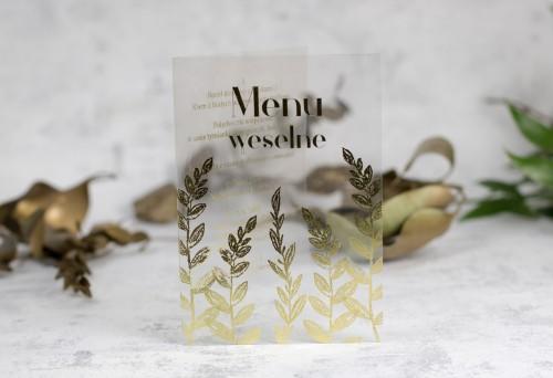 menu weselne złoto przezroczyste