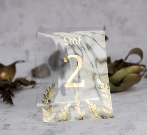 numer stołu złoto folia