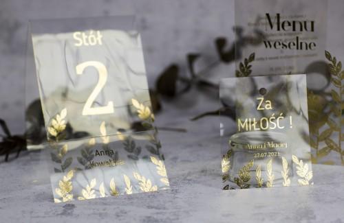 papeteria weselna złoto przezroczyste