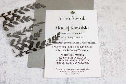 ślubne zaproszenie srebro transparentne