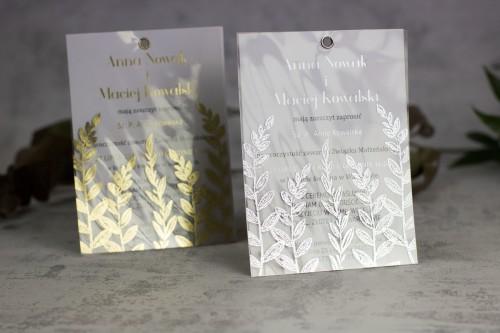 zaproszenia ślubne srebro złoto transparentne