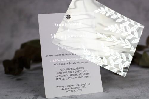 zaproszenie na ślub transparentne srebro