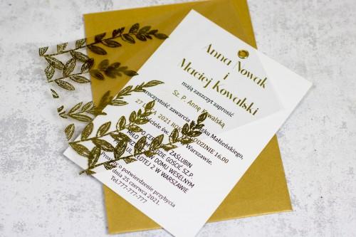 zaproszenie ślubne złoto transparentne