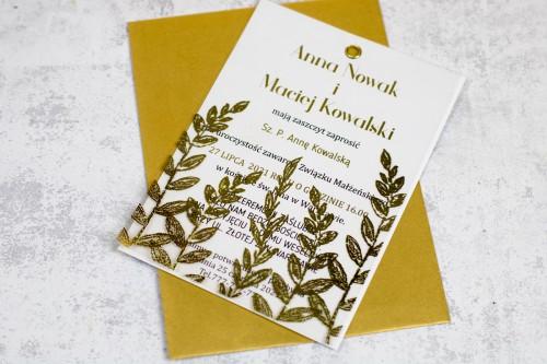 Złote przezroczyste zaproszenie ślubne
