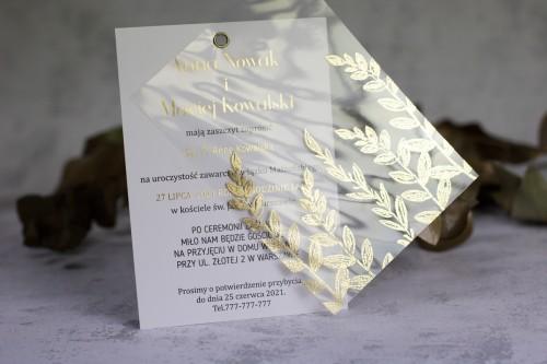 złoto transparentne zaproszenie ślubne