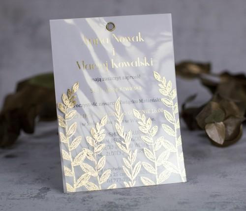 złoto zaproszenie ślubne transparentne