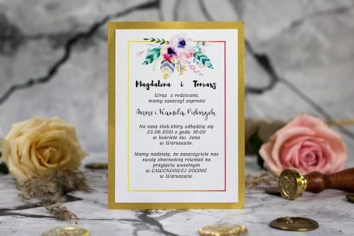 zaproszenie-slub-zloto-kwiaty-piora