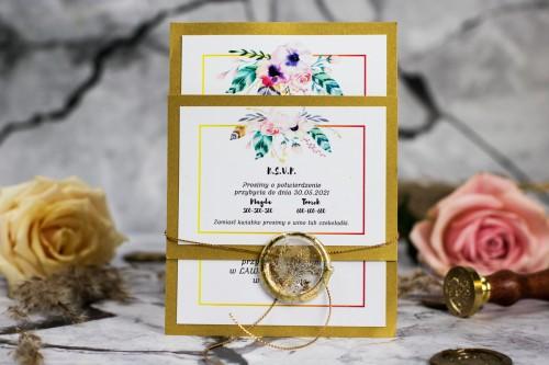 zaproszenie-slubne-kwiaty-zloto=piora