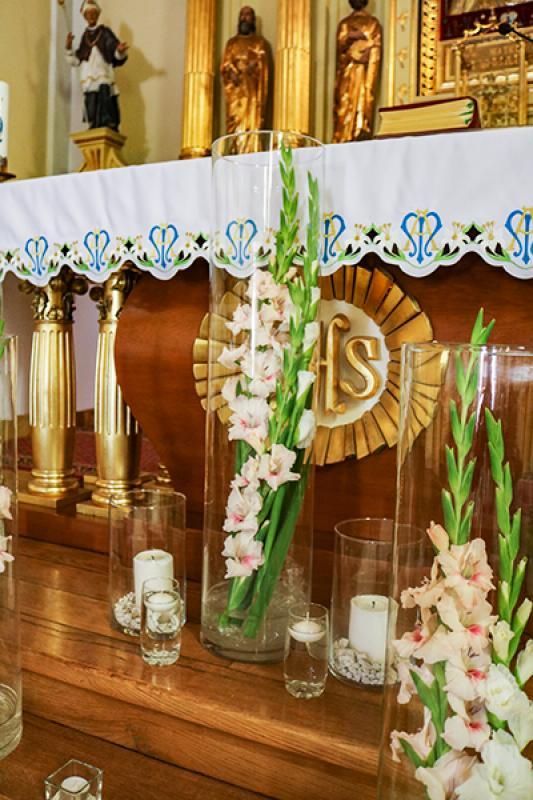 mieczyki świece ślub szkło