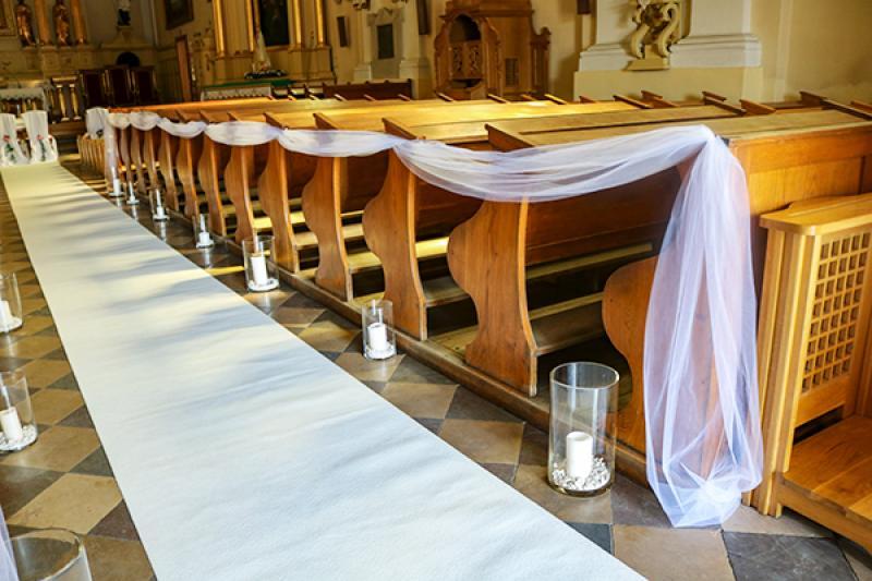 ślub świece biały dywan