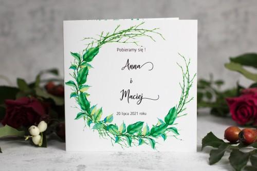 zaproszenie ślubne liście