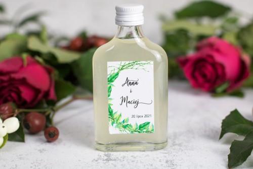 podziękowania butelka liście patyki wesele