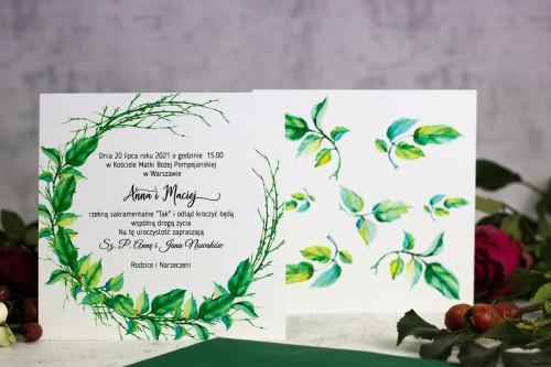 zaproszenia ślubne wianek liście