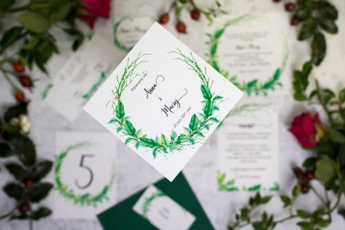 zaproszenie na ślub wianek liście