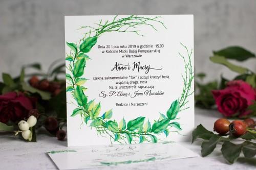 zaproszenie ślub wianek liście