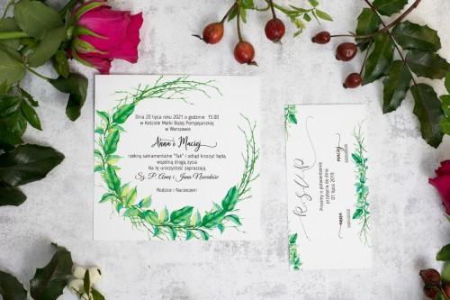 zaproszenie ślubne liście  wianek