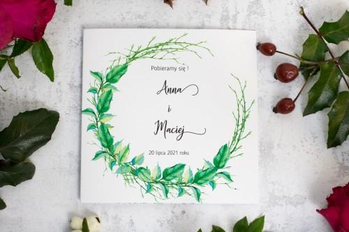 zaproszenie ślubne składane liście