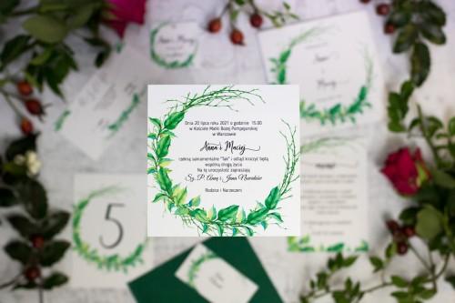 zaproszenie ślubne wianek liście